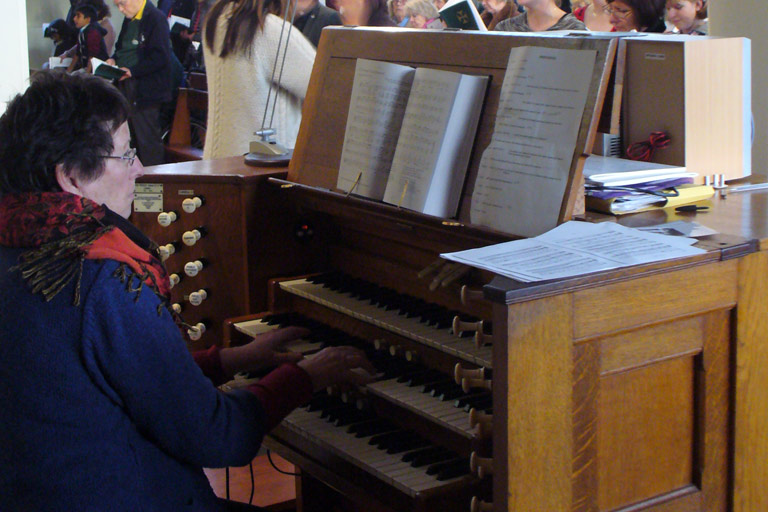 Organ being played at Our Lady of Peace Church